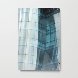 Reflections in a Curved Glass Building Metal Print