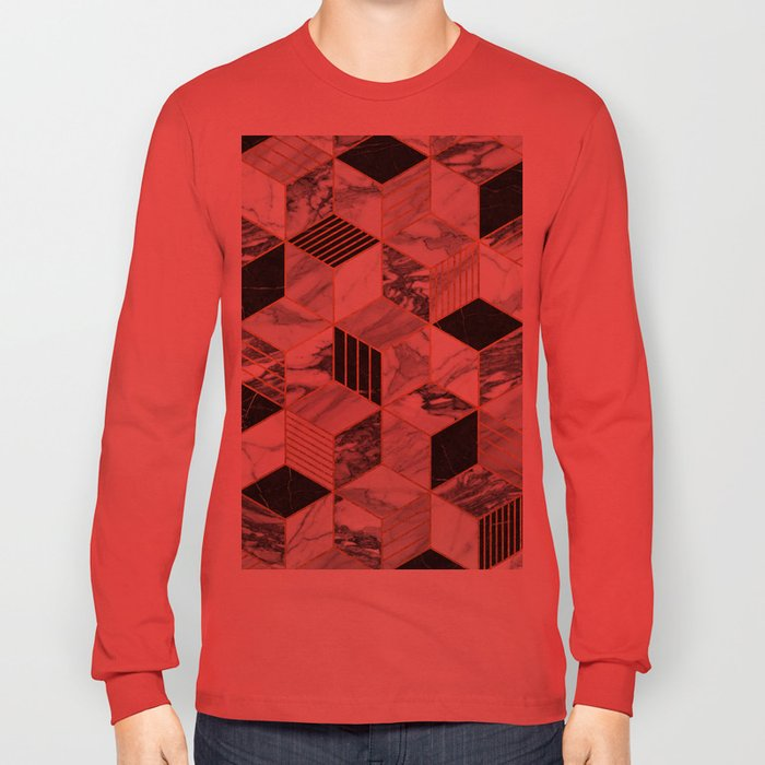 Marble Cubes 2 - Black and White Long Sleeve T-shirt