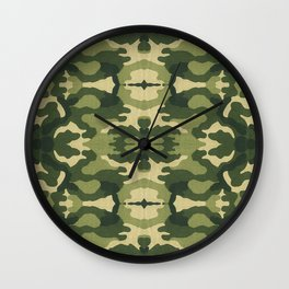 Retro close-up view camouflage fabric illustration pattern Wall Clock