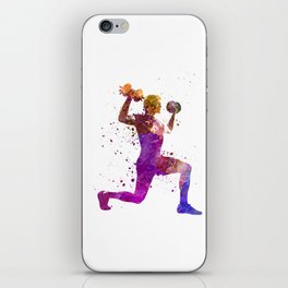 Man exercising weight training workout fitness iPhone Skin