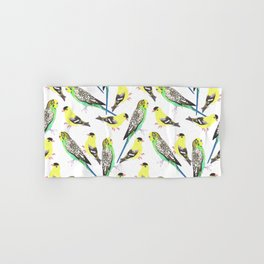 Budgies and american goldfinches Hand & Bath Towel