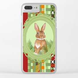 Bunny in green frame with geometric background stripes Clear iPhone Case