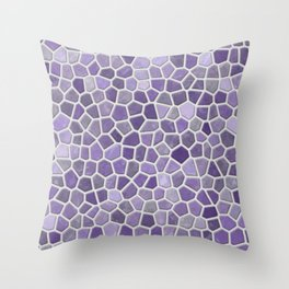 Faux Stone Mosaic in Lavender Throw Pillow