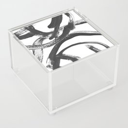 Interlock black and white paint swirls Acrylic Box