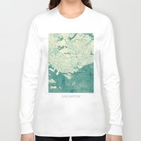 singapore Long Sleeve T-shirts featuring Singapore Map Blue Vintage by City Art Posters