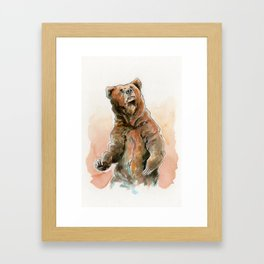 Brown Bear Grizzly in Gouache Framed Art Print