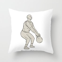 Athlete Fitness Squatting Kettlebell Drawing Throw Pillow