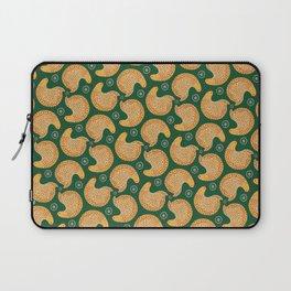 Yellow hen pattern on green Laptop Sleeve