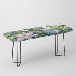 Japanese Water Lilies and Lotus Flowers Bench