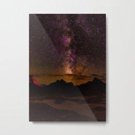 Milky Way over the Badlands South Dekota Metal Print