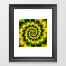 Spiral Rosette in Yellow Green and Red Framed Art Print