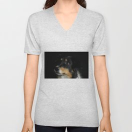 Border Collie Portrait - Panda Unisex V-Neck