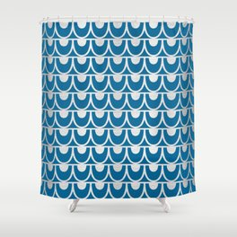 Mid Century Modern Abstract Fish Scale Pattern in Ocean Blue and Silver Shower Curtain