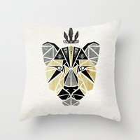 the lion king Throw Pillows featuring lion king by Manoou