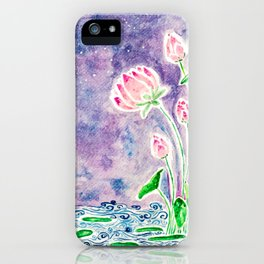 Watercolor Midnight Lotus - India kerala mural style iPhone Case