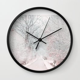 The Winter Road in the Suburb. Wall Clock