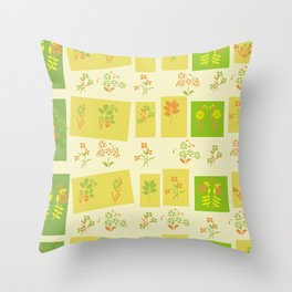Midcentury Floral Pattern Throw Pillow