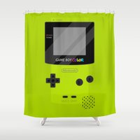 gameboy Shower Curtains featuring Gameboy Color - Green by katy-makes-things