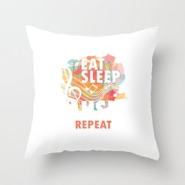 Eat Sleep Music Repeat Musical Melody Acapella Carols Songs Gift Throw Pillow