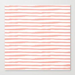 Pink Drawn Stripes Canvas Print