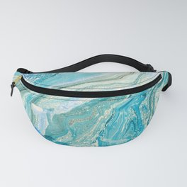 Blue Liquid Marble Fanny Pack