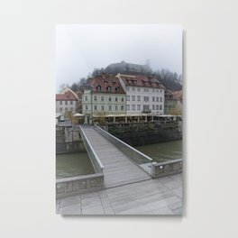 Ljubljana Castle In The Fog Metal Print