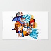 dbz Area & Throw Rugs featuring DBZ - Vegeta & Goku SSJ God II by Mr. Stonebanks
