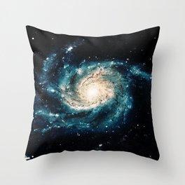 Ocean Blue Teal Spiral Galaxy Throw Pillow
