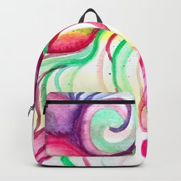 Red and Green Holiday watercolor Backpack