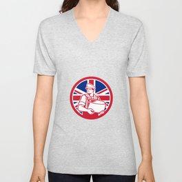 British Artisan Cheese Maker Union Jack Flag Icon Unisex V-Neck