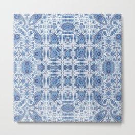 Indigo Block Print Effect Metal Print