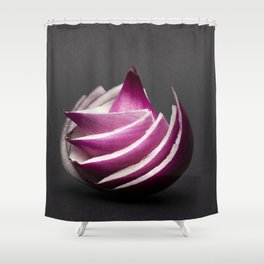 Red Onion Flower - Food Photography Shower Curtain