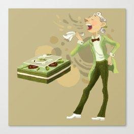 Green Tea Opera cake Canvas Print