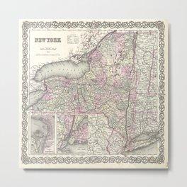New York Map print from 1855 Metal Print