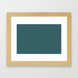 Rich Aqua Blue Green Solid Color Accent Shade / Hue Matches Sherwin Williams Deep Sea Dive SW 7618 Framed Art Print