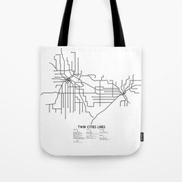 Twin Cities Lines Map Tote Bag
