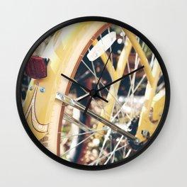 Yellow Bicycle Wheel Wall Clock