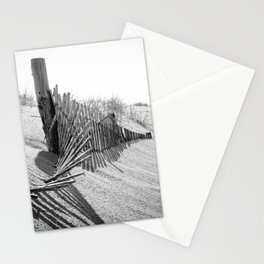 High Key Dunes and Fence Black and White Coastal Landscape Photograph Stationery Cards
