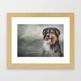 Drawing funny dog Framed Art Print