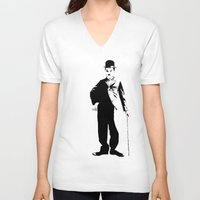 chaplin V-neck T-shirts featuring Chaplin by Vee Ladwa