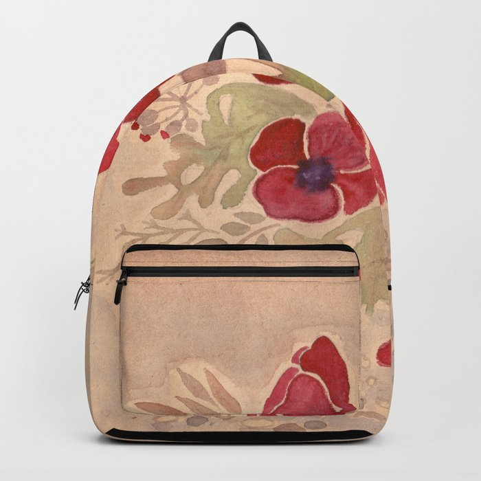 Watercolor poppies on old paper . Backpack