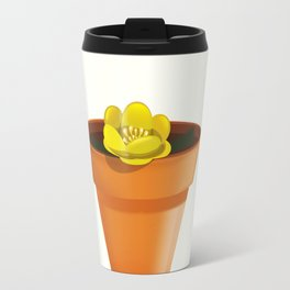 Pretty yellow flower in a pot Travel Mug