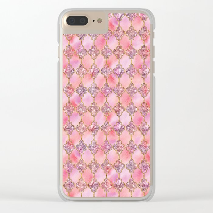 Luxury Gold and Pink Glitter effect oriental pattern on #Society6 Clear iPhone Case