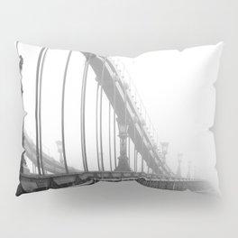 Bridge lost in fog Black and White Pillow Sham