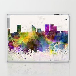 The Hague skyline in watercolor background Laptop & iPad Skin