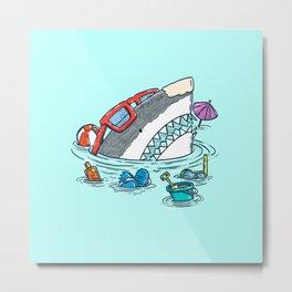 Beach Party Shark Metal Print