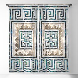 Greek Key Ornament - Greek Meander -Abalone and gold Blackout Curtain
