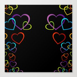 colorful valentine hearts art Canvas Print