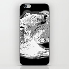 icebear polarbear enjoying vector art black white iPhone Skin