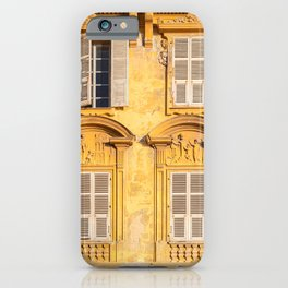 Antique windows and shutters. Yellow vintage facade. iPhone Case